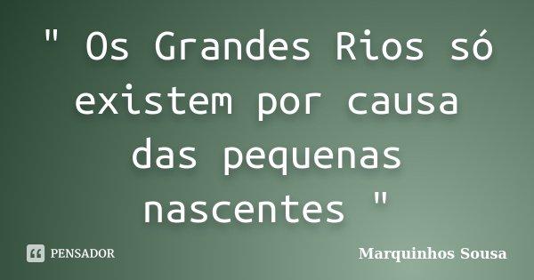 """ Os Grandes Rios só existem por causa das pequenas nascentes ""... Frase de Marquinhos Sousa."