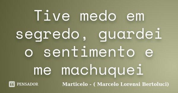 Tive medo em segredo, guardei o sentimento e me machuquei... Frase de Marticelo - ( Marcelo Lorensi Bertoluci).