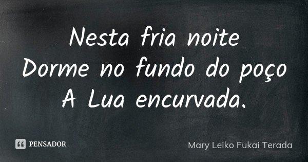 Nesta fria noite Dorme no fundo do poço A Lua encurvada.... Frase de Mary Leiko Fukai Terada.