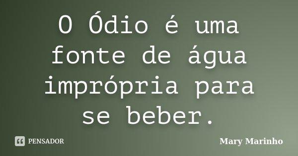 O Ódio é uma fonte de água imprópria para se beber.... Frase de Mary Marinho.