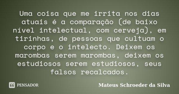 Uma coisa que me irrita nos dias atuais é a comparação (de baixo nível intelectual, com cerveja), em tirinhas, de pessoas que cultuam o corpo e o intelecto. Dei... Frase de Mateus Schroeder da Silva.