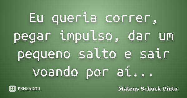 Eu queria correr, pegar impulso, dar um pequeno salto e sair voando por aí...... Frase de Mateus Schuck Pinto.