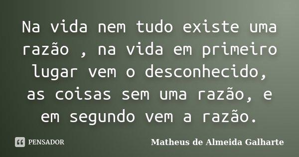 Na vida nem tudo existe uma razão , na vida em primeiro lugar vem o desconhecido, as coisas sem uma razão, e em segundo vem a razão.... Frase de Matheus de Almeida Galharte.
