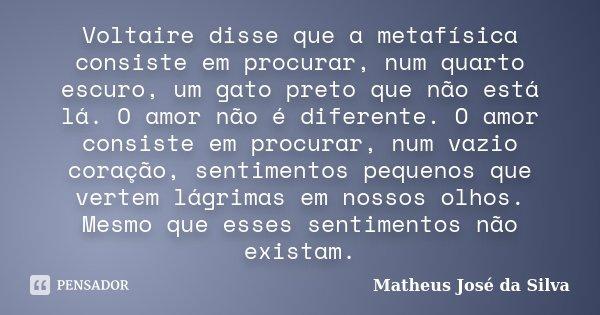 Voltaire disse que a metafísica consiste em procurar, num quarto escuro, um gato preto que não está lá. O amor não é diferente. O amor consiste em procurar, num... Frase de Matheus José da Silva.