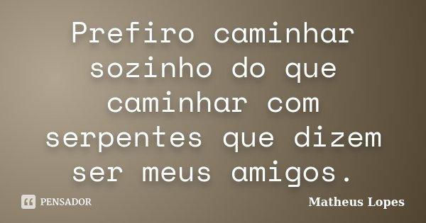 Prefiro caminhar sozinho do que caminhar com serpentes que dizem ser meus amigos.... Frase de Matheus Lopes.