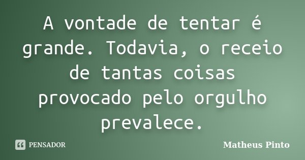 A vontade de tentar é grande. Todavia, o receio de tantas coisas provocado pelo orgulho prevalece.... Frase de Matheus Pinto.