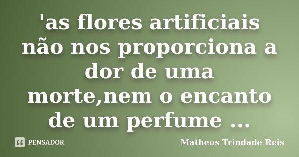 'as flores artificiais não nos proporciona a dor de uma morte,nem o encanto de um perfume ...... Frase de Matheus Trindade Reis.