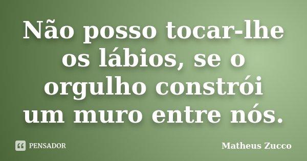 Não posso tocar-lhe os lábios, se o orgulho constrói um muro entre nós.... Frase de Matheus Zucco.