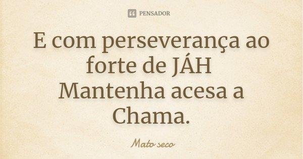 E com perseverança ao forte de JÁH Mantenha acesa a Chama.... Frase de Mato seco.