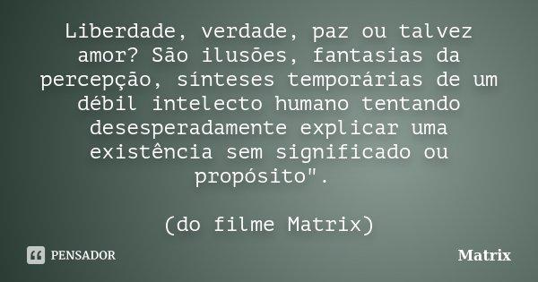 Liberdade, verdade, paz ou talvez amor? São ilusões, fantasias da percepção, sínteses temporárias de um débil intelecto humano tentando desesperadamente explica... Frase de Matrix.