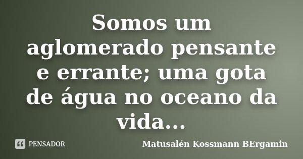 Somos um aglomerado pensante e errante; uma gota de água no oceano da vida...... Frase de Matusalén Kossmann Bergamin.