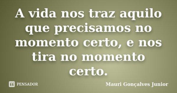 A vida nos traz aquilo que precisamos no momento certo, e nos tira no momento certo.... Frase de Mauri Gonçalves Junior.