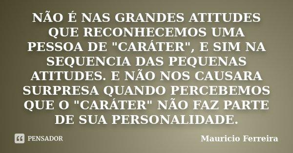 """NÃO É NAS GRANDES ATITUDES QUE RECONHECEMOS UMA PESSOA DE """"CARÁTER"""", E SIM NA SEQUENCIA DAS PEQUENAS ATITUDES. E NÃO NOS CAUSARA SURPRESA QUANDO PERCE... Frase de Mauricio Ferreira."""