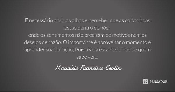 É necessário abrir os olhos e perceber que as coisas boas estão dentro de nós: onde os sentimentos não precisam de motivos nem os desejos de razão. O importante... Frase de Maurício Francisco Ceolin.