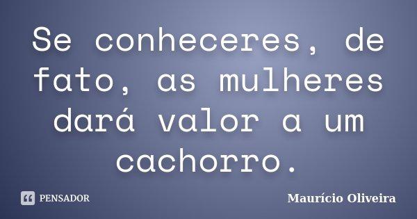 Se conheceres, de fato, as mulheres dará valor a um cachorro.... Frase de Maurício Oliveira.