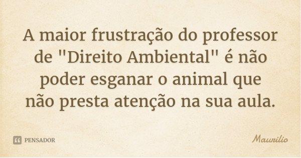 """A maior frustração do professor de """"Direito Ambiental"""" é não poder esganar o animal que não presta atenção na sua aula.... Frase de Maurilio."""