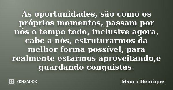 As oportunidades, são como os próprios momentos, passam por nós o tempo todo, inclusive agora, cabe a nós, estruturarmos da melhor forma possível, para realment... Frase de Mauro Henrique.