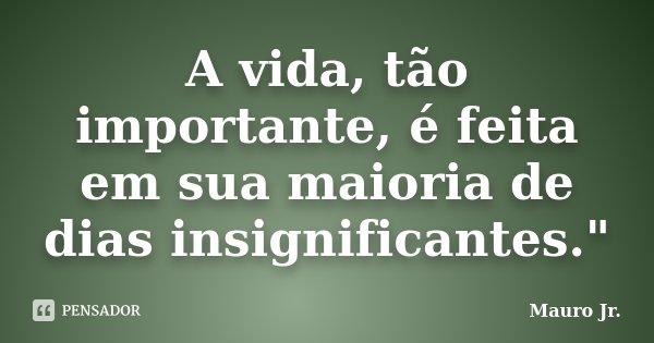"""A vida, tão importante, é feita em sua maioria de dias insignificantes.""""... Frase de Mauro Jr.."""