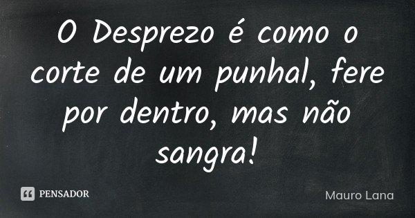 O Desprezo é como o corte de um punhal, fere por dentro, mas não sangra!... Frase de Mauro Lana.