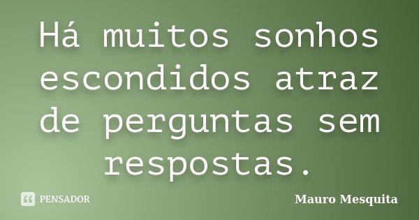 Há muitos sonhos escondidos atraz de perguntas sem respostas.... Frase de Mauro Mesquita.