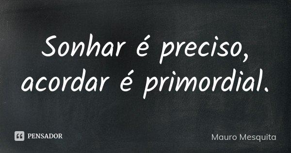 Sonhar é preciso, acordar é primordial.... Frase de Mauro Mesquita.