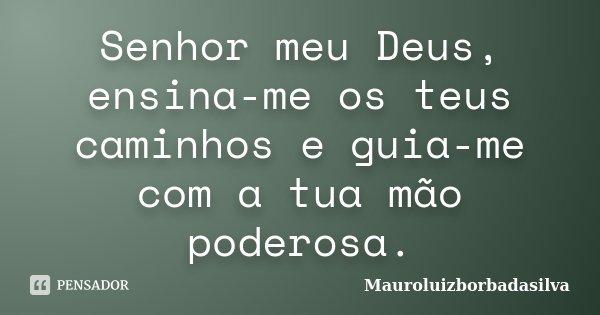 Senhor meu Deus, ensina-me os teus caminhos e guia-me com a tua mão poderosa.... Frase de Mauroluizborbadasilva.