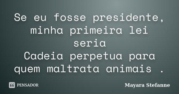 Se eu fosse presidente, minha primeira lei seria Cadeia perpetua para quem maltrata animais .... Frase de Mayara Stefanne.
