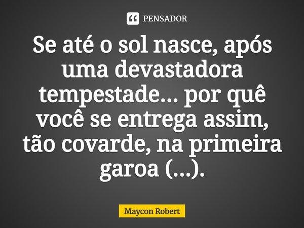 Se até o sol nasce, após uma devastadora tempestade... por quê você se entrega assim, tão covarde, na primeira garoa (...).... Frase de Maycon Robert.