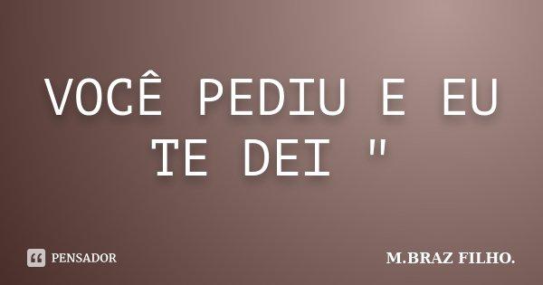 """VOCÊ PEDIU E EU TE DEI """"... Frase de M.BRAZ FILHO.."""