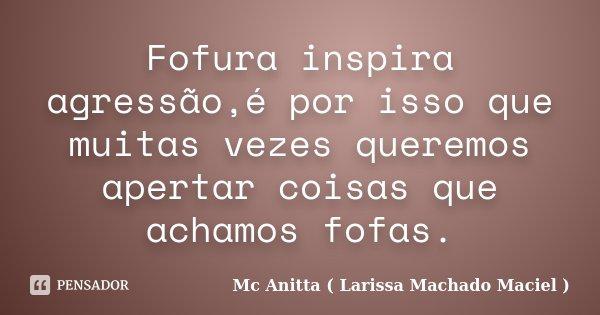 Fofura inspira agressão,é por isso que muitas vezes queremos apertar coisas que achamos fofas.... Frase de Mc Anitta ( Larissa Machado Maciel ).