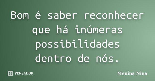 Bom é saber reconhecer que há inúmeras possibilidades dentro de nós.... Frase de Menina_Nina.