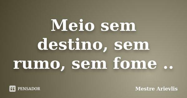 Meio sem destino, sem rumo, sem fome ..... Frase de Mestre Ariévlis.