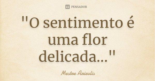 """""""O sentimento é uma flor delicada...""""... Frase de Mestre Arievlis."""