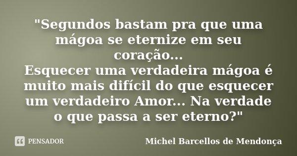 """""""Segundos bastam pra que uma mágoa se eternize em seu coração... Esquecer uma verdadeira mágoa é muito mais difícil do que esquecer um verdadeiro Amor... N... Frase de Michel Barcellos de Mendonça."""