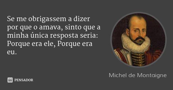 Se me obrigassem a dizer por que o amava, sinto que a minha única resposta seria: Porque era ele, Porque era eu.... Frase de Michel de Montaigne.
