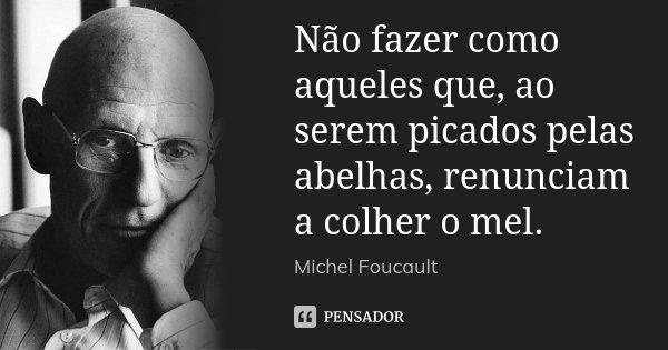 Não fazer como aqueles que, ao serem picados pelas abelhas, renunciam a colher o mel.... Frase de Michel Foucault.