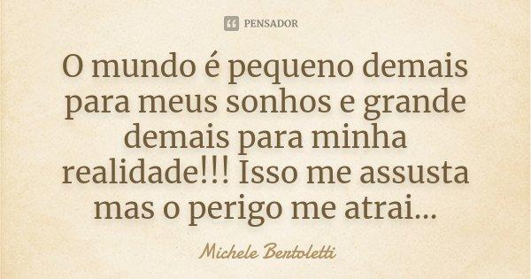 O mundo é pequeno demais para meus sonhos e grande demais para minha realidade!!! Isso me assusta mas o perigo me atrai...... Frase de Michele Bertoletti.