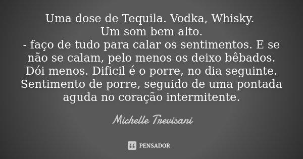 Uma dose de Tequila. Vodka, Whisky. Um som bem alto. - faço de tudo para calar os sentimentos. E se não se calam, pelo menos os deixo bêbados. Dói menos. Difici... Frase de Michelle Trevisani.