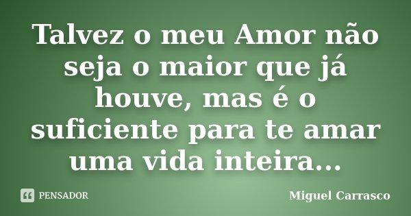 Talvez o meu Amor não seja o maior que já houve, mas é o suficiente para te amar uma vida inteira...... Frase de Miguel Carrasco.