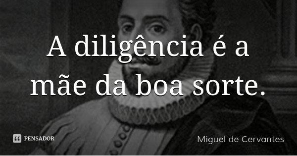 A diligência é a mãe da boa sorte.... Frase de Miguel de Cervantes.