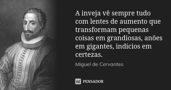 A inveja vê sempre tudo com lentes de aumento que transformam pequenas coisas em grandiosas, anões em gigantes, indícios em certezas.... Frase de Miguel de Cervantes.