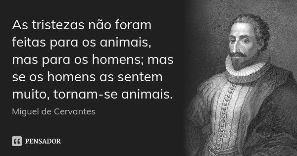 As tristezas não foram feitas para os animais, mas para os homens; mas se os homens as sentem muito, tornam-se animais.... Frase de Miguel de Cervantes.
