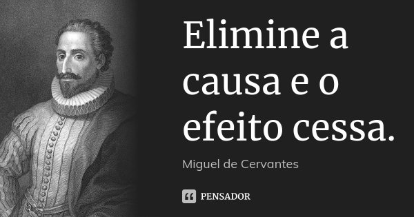 Elimine a causa e o efeito cessa.... Frase de Miguel de Cervantes.