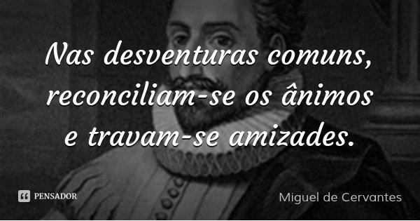 Nas desventuras comuns, reconciliam-se os ânimos e travam-se amizades.... Frase de Miguel de Cervantes.