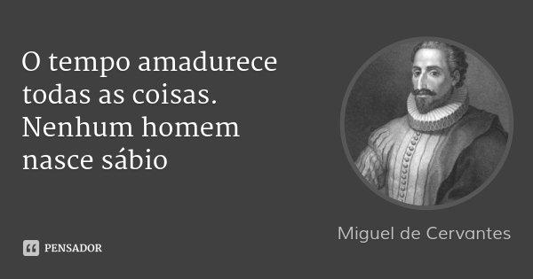 O tempo amadurece todas as coisas. Nenhum homem nasce sábio... Frase de Miguel de Cervantes.