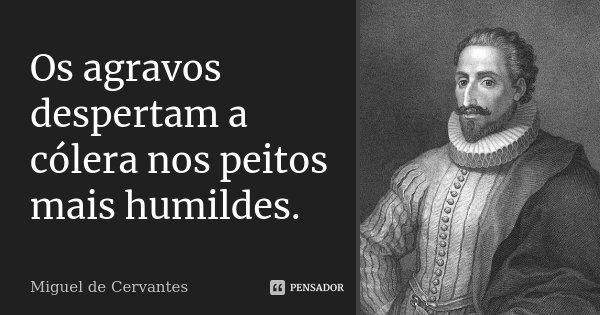 Os agravos despertam a cólera nos peitos mais humildes.... Frase de Miguel de Cervantes.
