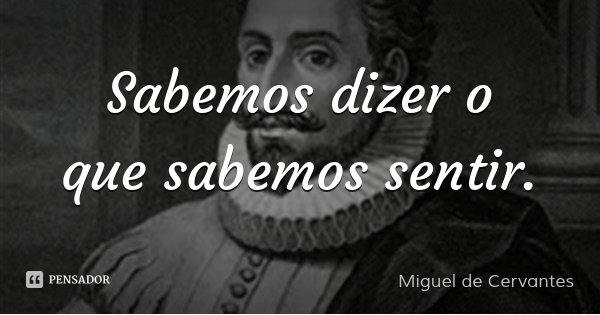 Sabemos dizer o que sabemos sentir.... Frase de Miguel de Cervantes.