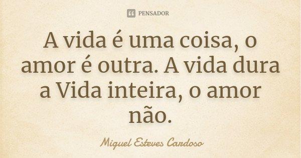 A vida é uma coisa, o amor é outra. A vida dura a Vida inteira, o amor não.... Frase de Miguel Esteves Cardoso.