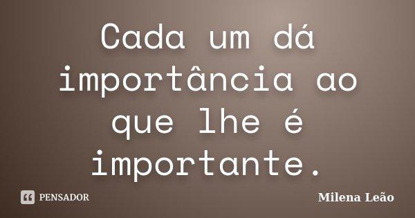 Cada um dá importância ao que lhe é importante.... Frase de Milena Leão.