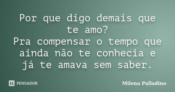 Por que digo demais que te amo? Pra compensar o tempo que ainda não te conhecia e já te amava sem saber.... Frase de Milena Palladino.